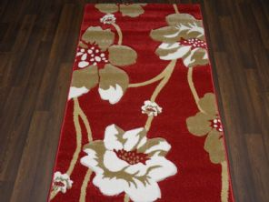 Modern Rugs Approx 5x2ft6 80cmx150cm Woven Thick best around Red/Beige Poppy